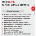 Aico EI603RF Battery Powered Heat Alarm with RadioLINK and 10 Year Lithium Battery