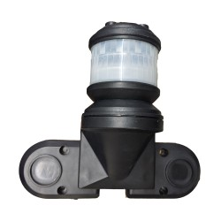 2000W Black Wall-mounted PIR with 270 degrees x 10m Detection Area with Time and Lux Adjustment