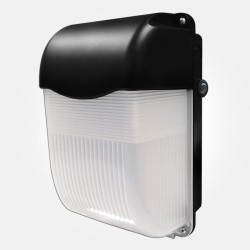 IP65 11W LED Bulkhead 6500K 900lm in Black with Integral Photocell for Wall Mounting