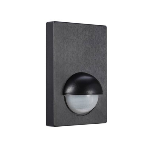 180 Degrees Wall-Mounted Rectangular PIR IP44 Rated in Black with 12m Detection