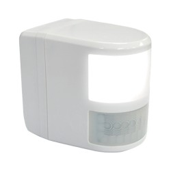 White PIR Detector with LED Comfort Light 180deg / 12m Detection for Wall or Ceiling Mounting