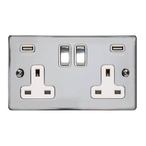 2 Gang 13A Socket with USB Charger