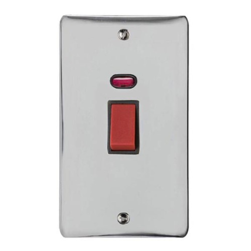 45A Red Rocker Cooker Switch with Neon (Twin Plate)