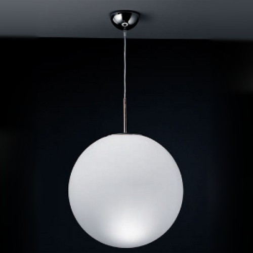 Nemo Asteroid 40cm dia Pendant, 400mm Opal White Glass Globe Suspension Lamp with Chrome