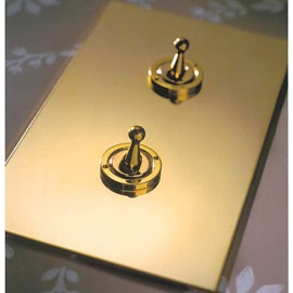 2 Gang 20A Vertical Intermediate Dolly Switch in Unlacquered Brass from Forbes and Lomax