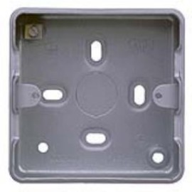 MK K8891ALM 1 Gang Aluminium Surface Box for 1 or 2 Grid Modules 38mm 5 x 20mm Knockouts