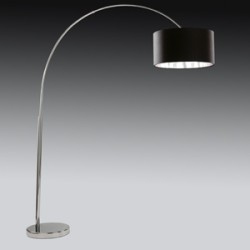 Ark Large Floor Lamp in Chrome (complete with black shade and silver liner)