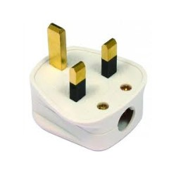 3 Pin 13A fuse fitted white plug top