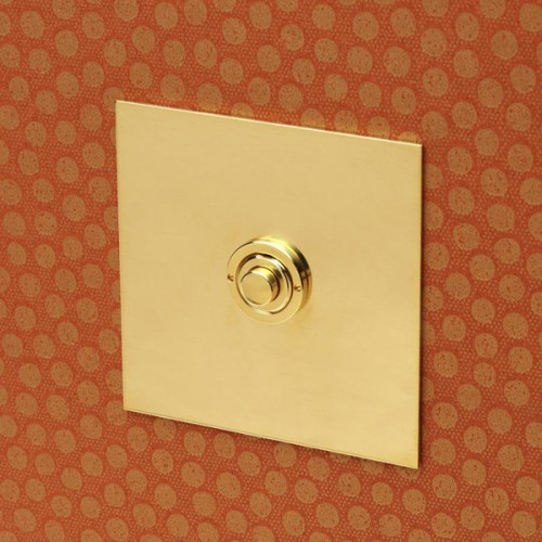 1 Gang Momentary Switch Unlacquered Brass Plate and Button, Single Button Dimmer Controller
