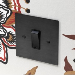 1 Gang 2 Way 20AX Rocker Switch in Antique Bronze Plate and Rocker with Black Trim