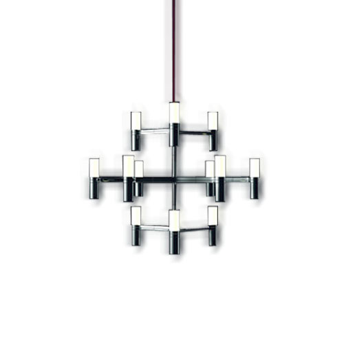 Nemo Crown Minor 12 Light Polished Chrome Chandelier with Glass Diffusers Designed by Jehs and Laub