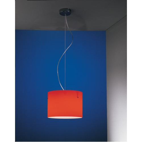 Nemo Donna Minor Pendant in Red, Lux Suspension Light with Red Cylindrical Shade by Nemo