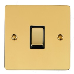 1 Gang Intermediate 10A Rocker Switch in Polished Brass Plate and Switch with Black Plastic Trim, Elite Flat Plate
