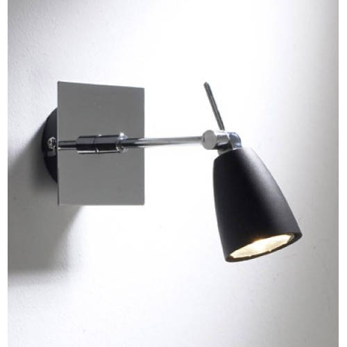 DAR Empire Elegant Wall Spotlight Adjustable Black Spot on Polished Chrome Plate