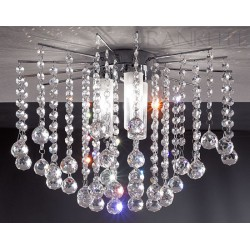 Glam Semi-Flush 3 Lamps Fitting with Crystal Beads, Chrome and Crystal Franklite FL2139/3 IP44 light