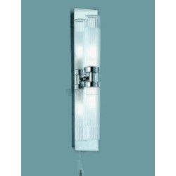 Modern double bathroom light, IP44 2 tube vertical light with ribbed frosted glass