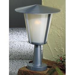 Garden Pedestal Lantern in Silver Grey, 360mm tall garden light