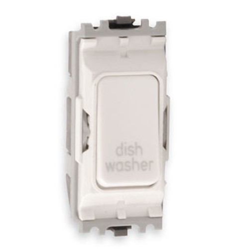 MK K4896DWWHI Grid 20A Double Pole Switch Marked 'Dish Washer' in White