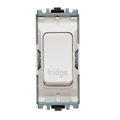 MK K4896FGWHI Grid 20A Double Pole Switch, Marked 'Fridge' in White