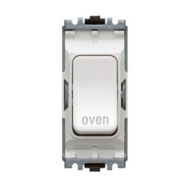 MK K4896OVWHI Grid 20A Double Pole Switch Marked 'Oven' in White