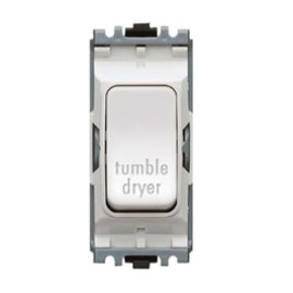 MK K4896TDWHI Grid 20A Double Pole Switch Marked 'Tumble Dryer' in White
