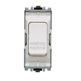 MK K4896WMWHI Grid 20A Double Pole Switch Marked 'Washing Machine' in White