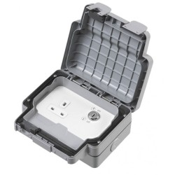 MK Masterseal Plus K56487GRY 1 Gang Key 13A Operated Socket IP66 Rated Grey
