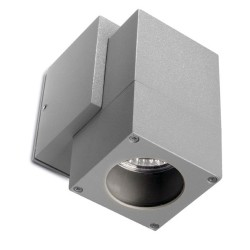 Icaro Single Cube Outdoor Wall Spotlight IP44 satin gray 50W GU10