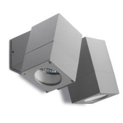 Icaro Twin Cube Outdoor Wall Spotlight IP44 satin gray 2 x 50W GU10