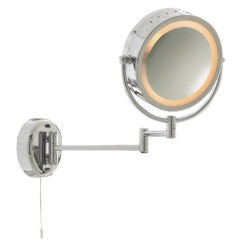 Bathroom Round Mirror with Adjustable Arm and Pull Cord Switch in Polished Chrome