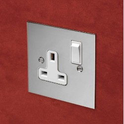 1 Gang 13A Switched Single Socket in Nickel Silver Plate with Plastic Insert and Rocker