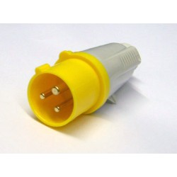 IP44 Protected Standard Yellow Male Plug - 2P+E 32A 110 V 4H