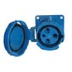 Protected 10 deg Angled Receptacle Blue Panel Mounted Socket - 2P+E 16A 230V 6H