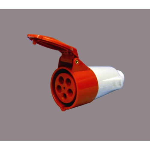 Protected Standard Red Male Plug - 2P+E 16A 400V 9H