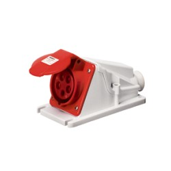 IP44 Protected 90 deg Angled Surface-Mounting Red Socket Outlet - 3P+N+E 16A 400V 6H