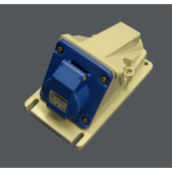 IP44 Protected 90 deg Angled Surface-Mounting Blue Socket Outlet - 2P+E 16A 230V 6H