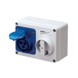 IP44 Fixed Interlocked Horizontal Switched Blue Socket Outlet - 2P+E 16A 230V 6H SBF