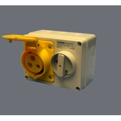 IP44 Fixed Interlocked Horizontal Switched Yellow Socket Outlet With Bottom Protected - 2P+E 16A 110 V 4H SBF