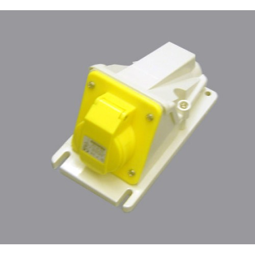 IP44 Protected 90 deg Angled Surface-Mounting Yellow Socket Outlet - 2P+E 16A 110V 4H