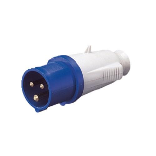 IP44 Protected Standard Blue Male Plug - 2P+E 32A 230V 6H