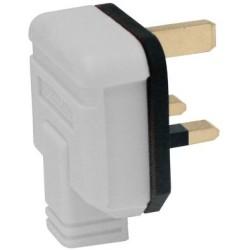 13A 3 Pin plug in white, heavy duty single plug white
