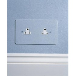 2 Gang 2A Unswitched Double Socket in Painted Plate and White or Black Plastic Insert