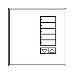 Lutron QS International seeTouch 5-button Wall Station in Satin Nickel Non-Insert Style with Raise/Lower QSWE-5BRLN-SN