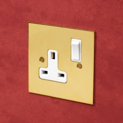 1 Gang 13A Switched Single Socket in Unlacquered Brass Plate with Plastic Rocker and Trim