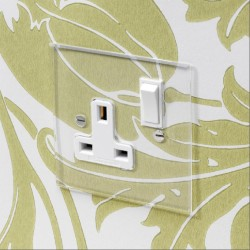 1 Gang 13A Switched Single Socket in Invisible Plate with Plastic Insert and Rocker