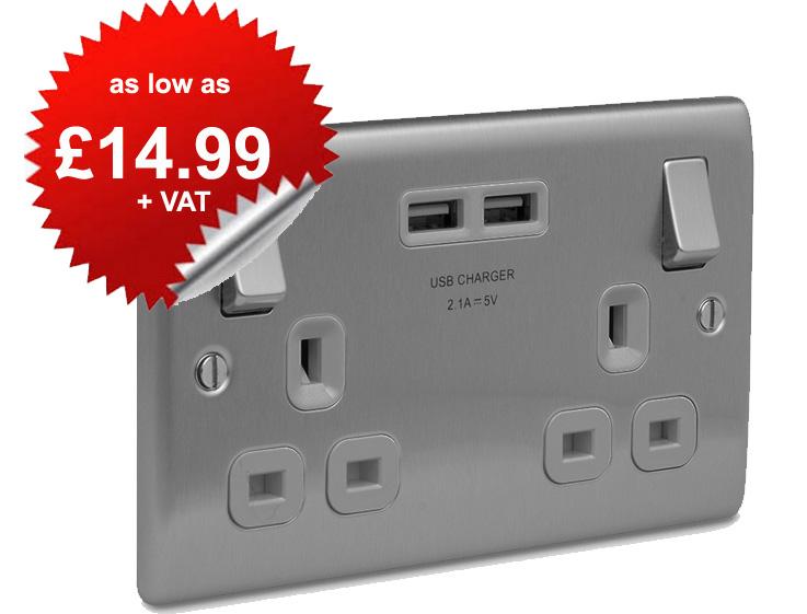 BG Nexus NBS22U Brushed Steel Flat Plate Twin 13A Socket with 2 x USB Ports - as low as £14.99 + VAT