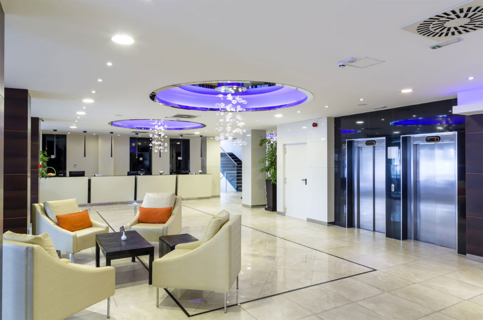 In more commercial areas, here's a LED striplight installed in a lobby.