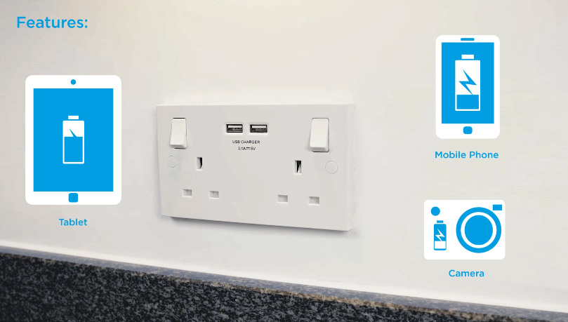 Charge your smartphone, android phone, iPhone, tablet, and camera from the USB socket on the wall!