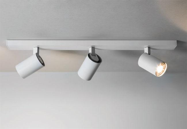 Ascoli triple ceiling spotlights adjustable in white on a bar ip20 3 x gu10 50w ax6144 - Kitchen bar spotlights ...