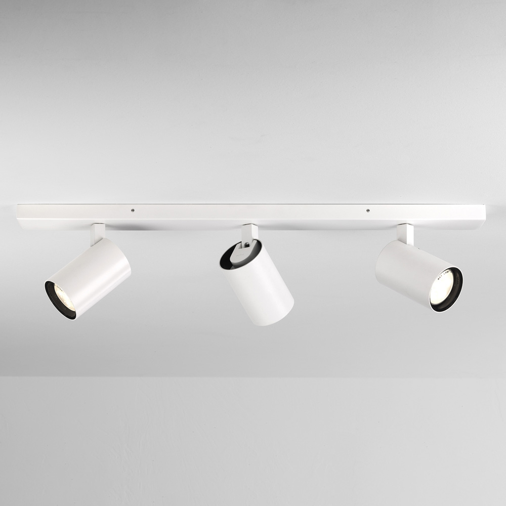 Ax6154 Aqua Matt White Triple Bar Spotlights Ip44 Taking 3 X Gu10 6w Max Dimmable Ceiling Wall Spots